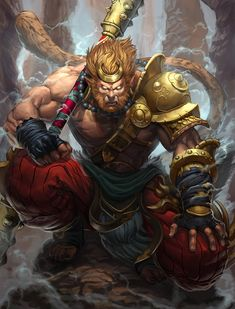 Smite-HiRez Sun Wukong, the Monkey King Fantasy Character Design, Character Concept, Character Inspiration, Character Art, Concept Art, Fantasy Warrior, Journey To The West, Monkey King, Art Anime