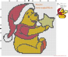 Winnie the Pooh with the star cross stitch pattern