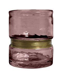 Ring vase/T-Light Holder, Glass, Purple