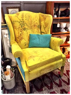 vintage french funky shabby wingback chair painted over with yellow chalk paint 120