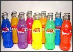A rainbow of Coca-Cola Coca Cola Bottles, Hot Sauce Bottles, Drink Bottles, Coca Cola Vintage, Always Coca Cola, Taste The Rainbow, Diet Coke, Color Of Life, Pepsi