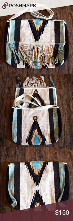 BOHEMIAN BAG Native Crossbody Ethnic Fringe Bucket One Size. New with tags.  $118 Retail + Tax.  - Beautiful messenger bag featuring fringed detailing and southwestern vibe.  - Intentional semi-distressed aspect brings character to this bag.  - Canvas strap can be tied up or tucked in. - Interior pockets. Very spacious!    Cotton.  Imported.    ❗️ No trades, holds or modeling requests.    Bundle 3+ items for a 20% discount!   ✔️ Items are priced to sell, however reasonable offers will be…