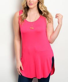 Loving this Pink Rounded-Hem Sleeveless Tunic - Plus on #zulily! #zulilyfinds