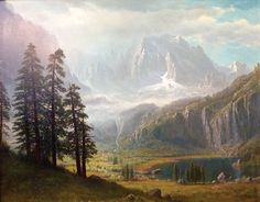 Albert Bierstadt's Inyo California Gothic Landscape, Landscape Art, Landscape Paintings, Landscapes, Albert Bierstadt Paintings, Barbizon School, Thomas Moran, Hudson River School, Traditional Art