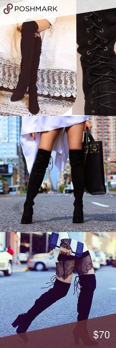 Suede Thigh High Full Tie Up Boot ⛄️JUST ARRIVED!⛄️Upgrade your simple boots for a subtle and flirty new look!⛄️ Brand New in Box ⛄️All vegan materials ⛄️ 3.25 inch heel ⛄️ Boot is 23 inches tall/26.25 inches tall including the heel ⛄️ Limited Quantities  Feel free to ask questions! Shoes Over the Knee Boots