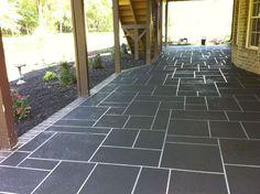 Showing white grout with dark grey floors ORIG: Concrete Restoration: Custom Slate Concrete Overlay Patterns on Large Patios Concrete Overlay, Concrete Tiles, Patio Tiles, Stamped Concrete, Concrete Floor, New Patio Ideas, Pool Ideas, Backyard Ideas, Garden Ideas