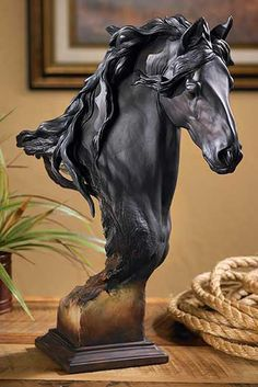 Fresian Horse Bust Sculpture Grace and agility made Friesians the popular choice for war horses during the Middle Ages. Their long flowing mane and proud carriage are magnificently replicated in this stirring sculpture. Hand cast and hand-painted. Small Sculptures, Animal Sculptures, Metal Sculptures, Afrique Art, Friesian Horse, Andalusian Horse, Arabian Horses, Horse Sculpture, Modern Sculpture
