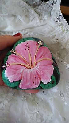 GORGEOUS-HAND-PAINTED-RIVER-ROCK-PINK-HIBISCUS
