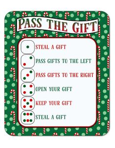 christmas games Pass the Gift Christmas Game, White Elephant Gift Exchange Christmas Gift Exchange Games, Fun Christmas Party Games, Xmas Games, Holiday Games, Interactive Christmas Games, Gift Exchange Themes, Gift Card Exchange, Dinner Party Games, Christmas Party Ideas For Teens