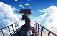 black_hair book clouds levi9452 long_hair original paper seifuku skirt sky stairs