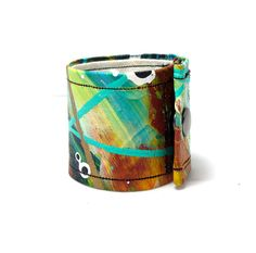 Southwest Turquoise and Rust Painted Cuff by leanderdambrosia