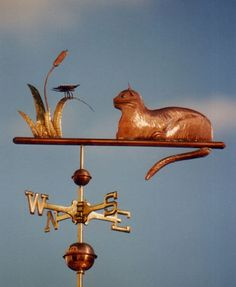Cat With Butterfly Weathervane - Made Of Copper & Brass