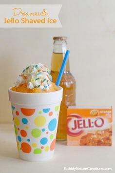 Dreamsicle Jello Shaved Ice ⋆ Sprinkle Some Fun Frozen Drinks, Frozen Desserts, Frozen Treats, Just Desserts, Delicious Desserts, Jello Shaved Ice, Shaved Ice Recipe, Sorbet, Jello Recipes