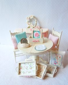 Dollhouse Miniature Shabby Rose Chic Distressed White Bed Tray. $14.99, via Etsy.