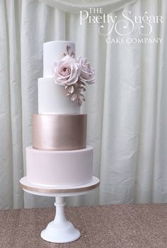 Browse through the different cakes we create here at The Pretty Sugar Cake Company, from Wedding Cakes & Wedding Favours to Celebration Cakes, to Cupcakes & Cookies. Wedding Cake Roses, Blush Pink Wedding Cake, Big Wedding Cakes, Wedding Cakes With Cupcakes, Elegant Wedding Cakes, Beautiful Wedding Cakes, Blush Pink Weddings, Wedding Cake Designs, Gold Wedding
