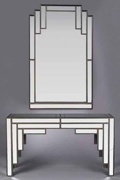An Art Deco-Style Enameled and Mirrored Console and Mirror, c. 1977, the stepped rectangular mirror over a mirror top console with a bracketed apron and straight legs, mirror height 51 1/2 in., width 32 in., table height 30 1/2 in., width 54 in., depth 13 3/4 in. Provenance: Jonathan's Restaurant, North Rampart St., New Orleans #artdecofurniture