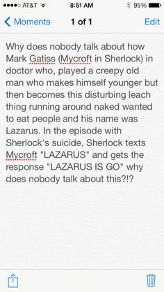 :O Sherlock / Doctor Who / tumblr / tumblr post / text post / omg why does nobody talk about this