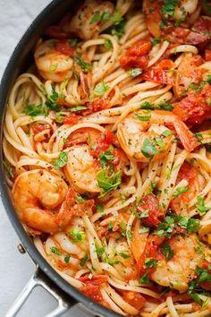 WÜRZIGE SHRIMP PASTA MIT TOMATEN UND KNOBLAUCH #knoblauch #pasta #shrimp #tomaten #wurzige