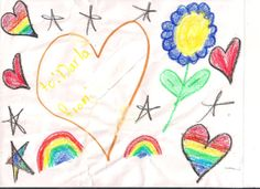 Beautifully designed with hearts, stars and flowers by a older 5.