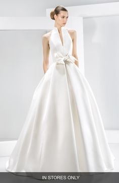 Jesús Peiró Bow Detail Satin Halter Dress (In Stores Only) available at #Nordstrom