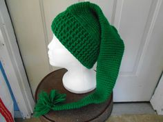 Adorn Me YOUR Way Crocheted Elf Stocking Hat made of acrylic yarn.....hand wash and drape to dry. Add your own decoration...Christmas or just