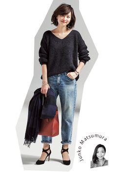 脱!無難!冬デニムをステキにみせるアイデアMarisol ONLINE|女っぷり上々!40代をもっとキレイに。 Japan Fashion, Daily Fashion, Love Fashion, Korean Fashion, Fashion Beauty, Girl Fashion, Fashion Outfits, Womens Fashion, Estilo Jeans