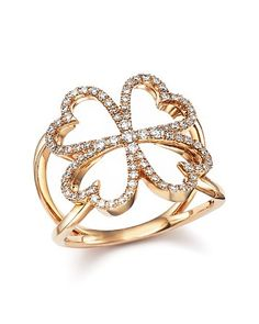 $2900 Diamond Four Leaf Clover Ring in 14K Rose Gold, .35 ct. t.w. - Bloomingdale's
