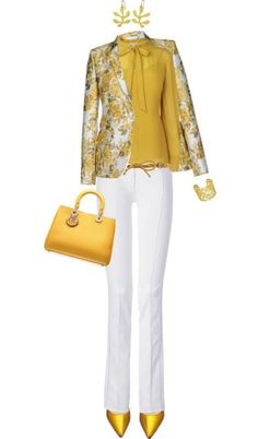 Gorgeous Spring look with yellow heels and floral blazer | 84+ Breathtaking Floral Outfit Ideas for All Seasons