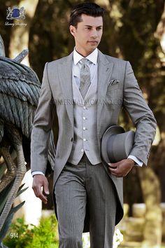 Traje de novio chaqué italiano a medida fil a fil gris, pantalón rayas diplomáticas, modelo 914 Ottavio Nuccio Gala colección Gentleman 2015.