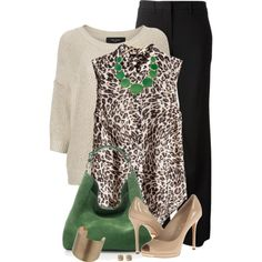 Green and leopard, created by mommygerloff on Polyvore