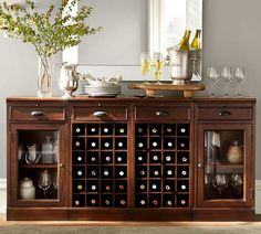 Pottery Barn Modular Bar Buffet With 2 Wine Grid Bases Gl Door Cabinets