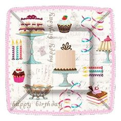 Birthday Sweets Square Paper Plates