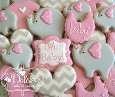 Resultado de imagen para baby shower cookies pink grey white elephants