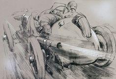 1922 Targa Florio in Action pencil drawing.