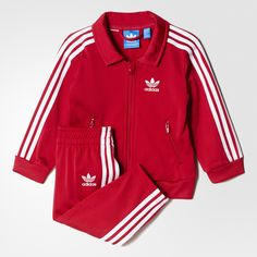 A classic adidas Originals look, sized just for toddlers. Just like the grown-up version, this little track suit features the iconic Firebird stand-up collar and is made in slightly shiny tricot fabric. Contrast 3-Stripes on the jacket and pants complete the sporty style.