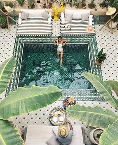 green tile pool // personal pools // modern Moroccan style