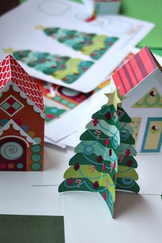 Printable Christmas Tree Paper Toy download - print and download an entire neighborhood of 25+ houses, cars, and people. via SmallforBig.com
