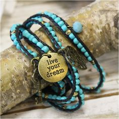 Bracelet, beaded, aqua,wrap, bohemian jewelry | WB1 #boho   #jewelry #fashion