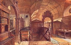 OXFORD Interior of the Library of Merton College 1903
