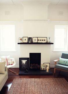 katie quinn davies' home {design*sponge} Simple Fireplace, White Fireplace, Cozy Fireplace, Fireplace Ideas, Fireplace Refacing, Fireplace Remodel, Fireplace Design, My Living Room, Home And Living