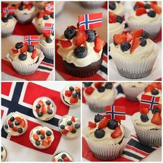 mai cupcakes - My Little Kitchen Constitution Day, Public Holidays, Little Kitchen, Frisk, Norway, Cupcakes, Baking, Desserts, Food
