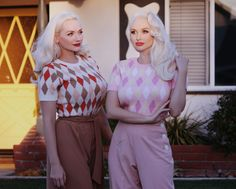 """Miss Fortune """"Harvest"""" and """"Pink Lemonade"""" harlequin Bobbie Jumpers.  1940s vintage inspired sweaters.  Worn here by The Pink Collar Life.  Jumpers copyright Miss Fortune."""