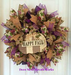 Autumn Wreath, Fall Wreath, Harvest Wreath, Burlap Wreath, Deco Mesh Wreath…