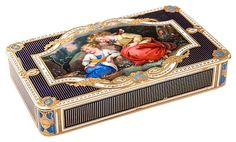 A Golld and Enamel Snuff Box set with A Miniature Enamel Painting, Guidon, Remond, Gide & Co, Geneva, 18th-19th Century.