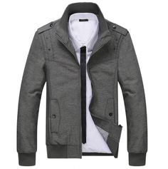 Men's Casual Stand Collar Jacket with Side Pocket