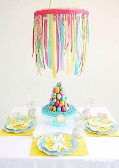 DIY Easter Kids Brunch Ribbon Chandelier