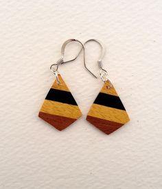 Wood dangle earrings, diamond-shape, handmade from natural hardwoods - osage orange, ebony, mahogany -  silver wire