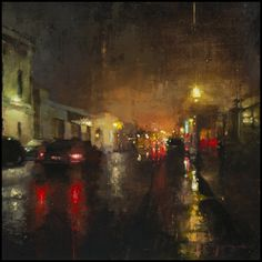 """The Traditional Work of Jeremy Mann - Cityscapes """"Nocturne #6"""" - Oil on Panel - 12 x 12 inches - The John Pence Gallery"""