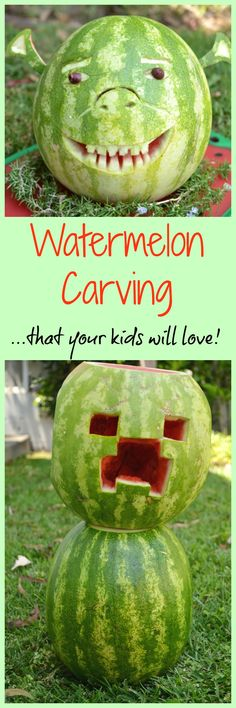 Summer Watermelon Carving - Jolly Tomato - - Your kids will love these watermelon carving ideas, from Shrek, to a Minecraft Creeper, to Olaf from Frozen, and more! Great for parties! Watermelon Turtle, Watermelon Hacks, Watermelon Fruit Salad, Fruit Salads, Jello Salads, Baby Shower Fruit, Baby Shower Watermelon, Watermelon Birthday Parties, Watermelon Carving Easy