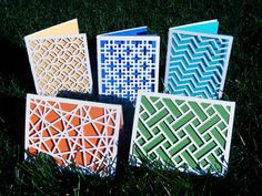 Items similar to Modern Geometric Design Laser Cut Paper Cards- Set of five on Etsy Origami Templates, Box Templates, Laser Cut Paper, Paper Cut Design, Book Design Layout, Kirigami, Paper Cards, Bookbinding, Laser Cutting